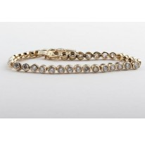 Tennisarmband Armband mit Zirkonia in aus 585 er 14kt Gelbgold Goldarmband