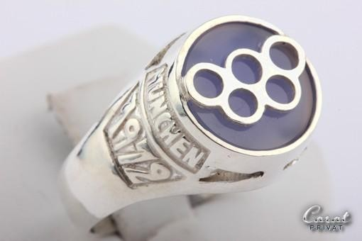 Seltener Olympia-Ring aus 925 Sterlingsilber Olympiade München 1972 Gr58