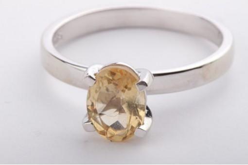 Citrin Ring in aus 375 er Weißgold mit with Zitrin Ringgröße Gr 56