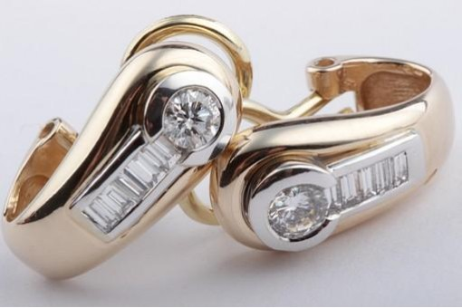Brillant Diamant Ohrringe Clips Stecker aus 585 14k Gelbgold mit Brillianten