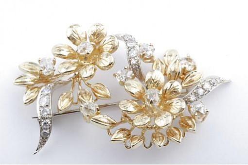 Diamant Brosche 1ct aus 750 er 18k Bicolor Gold GG WG mit Brilliant Altschliff