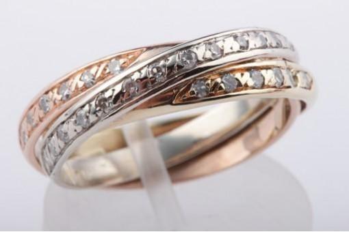 Brillant Diamant Ring in aus 585 er Tricolor Gold mit Brillanten Brillianten