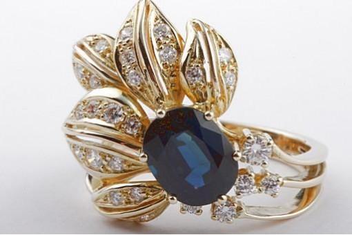 Designer Saphir Ring mit Brillanten Diamant 0,50ct Handarbeit 585 Gelbgold 54