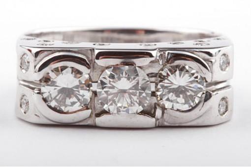 Dreier Brillant Ring 2,6ct 750 18k Weißgold mit Brillanten Brillianten Gr59